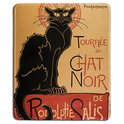 dealzEpic - Art Mousepad - Natural Rubber Mouse Pad with Famous Classic Vintage Black Cat Poster Tour of Rodolphe Salis' Chat Noir Design - Stitched Edges - 9.5x7.9 inches ()