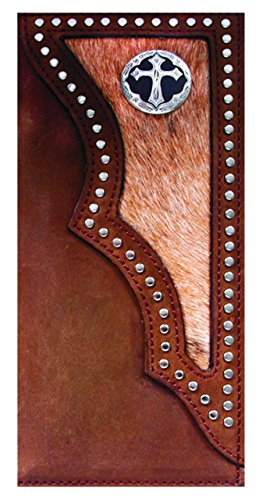 3 Slot Belt - Custom 3D Belt Co. Ornate Cross Long Rodeo Checkbook Wallet Hair on Hide Brown New