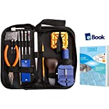 WONBEE Watch Repair Kit 164 PCS Professional Watchband Adjustment Tool Set/ Watches Battery Replacement Tools /Spring Bars Set/ Bonus a Pair of Cotton Gloves+Ebook