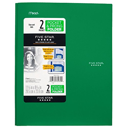 043100340300 - Five Star Pocket and Prong Folder, Stay-Put Tabs, Color Will Vary (34030) carousel main 0