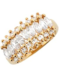 14k Real Yellow Gold White CZ Fancy Elegant Ladies Anniversary Ring