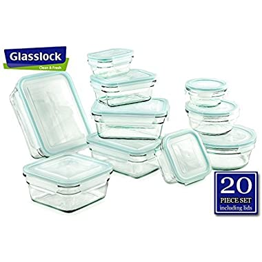 GlassLock Food Storage Glass Containers Set – 20 Pieces