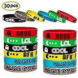 Video Game Bracelets Party Favor Gamer Birthday Supplies Goody Bag Kids Teen Tween Size Wrist Bands 30 Pack