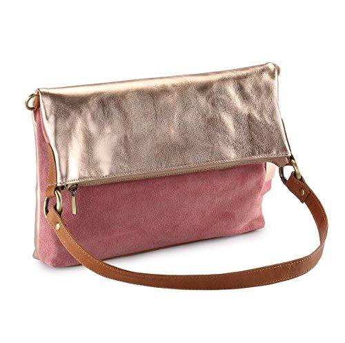 HYDESTYLE Lb31 - Bolso mochila  de Piel para mujer oro rosa
