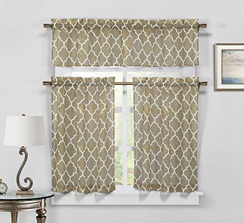 Duck River Textile Geo Geometric 3 Piece Kitchen Window Curt