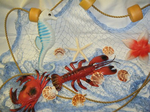 6 X 9 Fishing Net, Netting, Nautical Display, with Crab, Rope and Floats and Starfish ()