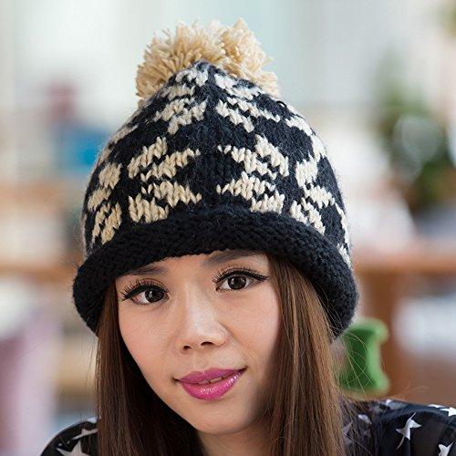 Knit Copo Nieve de Lana BLACK Color Maozi Surge Sombrero del Europa Opcional Bola Larga IwHqW7E