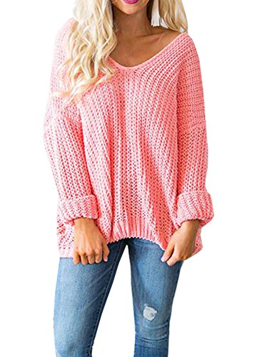 Womens Sweaters Oversized V Neck Long Sleeve Off The Shoulder Cable Knit Pullover Sweater Tops