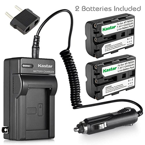 (Kastar NP-FM500H Battery (2-Pack) and Charger Kit for Sony DSLR-A100 A200 A300 A350 A450 A500 A550 A560 A580 A700 A850 A900 Alpha SLT A57 A58 A65 A65V A77 A77V A77 II A77M2 A99 A99V CLM-V55 Cameras)