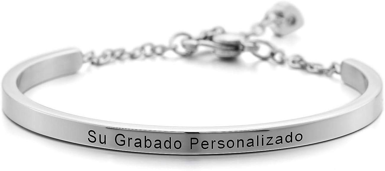 MeMeDIY Acero Inoxidable Pulsera Brazalete Manguito Corazón Heart Ajustable - Grabado Personalizado