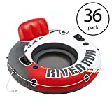 MRT SUPPLY River Run 1 53'' Inflatable Floating Tube Lake Pool Ocean Raft (36 Pack) with Ebook