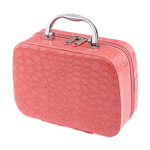 Leather Vanity Case (Jili Online Portable Travel PU Leather Vanity Make Up Case Nail Jewelry Cosmetic Box Toiletry Organizer Train Bag - Pink)