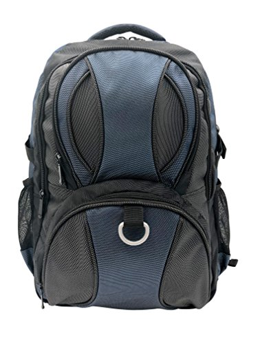 JEMIA Large Travel Backpack with Laptop Computer Compartment, Bottle Holder, Blue Rucksack Use for Hiking Traveling, Outdoor, Work, School and Carry on for Womens, Mens ()