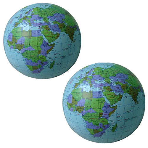 DLOnline 2 Pack Large Inflatable Beach Ball Globes,16 inch. ()