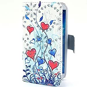 PEACH Red Heart Branches Pattern PU Leather Case with Stand for Samsung Galaxy S4 I9500