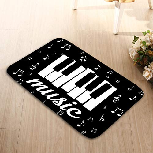 zexuandiy Welcome Doormats Non-Slip Doormat Non-Woven Fabric Floor Mat Indoor Entrance Rug Decor Mat 23.6(L) x 15.7(W) Music icon Piano Musical Notes eps Character