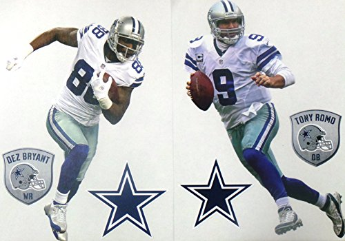 Tony Romo Wall (Tony Romo Mini FATHEAD and Dez Bryant Mini FATHEAD Dallas Cowboys Logo Official NFL Vinyl Wall Graphics 7