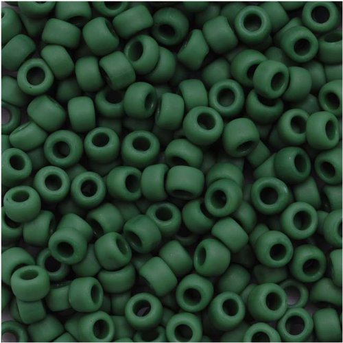 (Toho Round Seed Beads 8/0#47HF 'Opaque Frosted Pine Green' 8 Gram Tube)