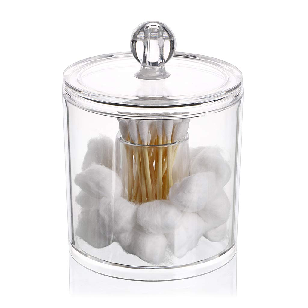 Hipewe Cotton Ball and Swab Organizer with Lid Apothecary Acrylic Jar Makeup Cotton Organizer Bathroom Storage Canister Jar for Cotton Rounds Pads Q-tips Holder Hipiwe