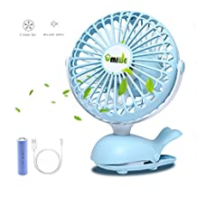 Mini Clip on Fan, Umiwe Portable Battery Powered Quiet Desk Fan with 5 Blades for Travel Office Baby Stroller(Blue,6inch) (blue)