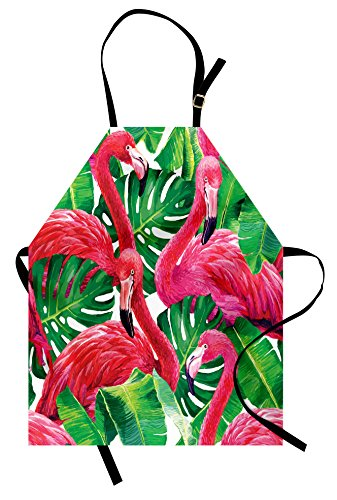 Ambesonne Flamingo Apron, Flamingos Sitting on Macro Tropic Exotic Leaves Graphic in Retro Style Artwork, Unisex Kitchen Bib with Adjustable Neck for Cooking Gardening, Adult Size, Pink Green ()