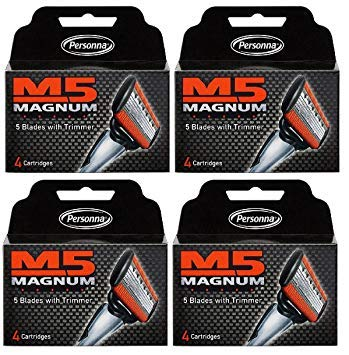 M5 Magnum Razor Blades with Trimmer, 4 Count Refill Blades (4 Pack) ()