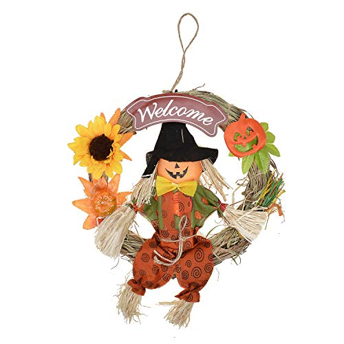 FAVOWREATH Fall Series FAVO-W119 Handmade 10 inch Scarecrow and Pumpkin Straw Wreath for WinterFall Halloween Festival Front Door/Wall/Fireplace Light Up Nearly Natural Home Hanger Decor Gifts ()
