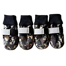 Julvie Camo Pet Dog Shoes with Reflective Velcro Paw Protector for Medium to Large Dogs 4 Pcs