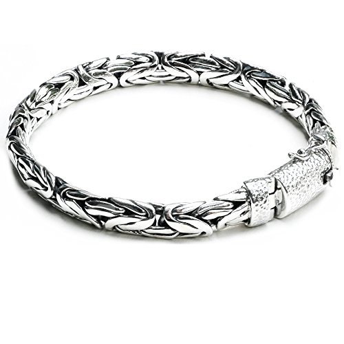 Bracelet Style Antique (Kham 8.4 mm. Woven Sterling Silver Braided Bali Style Cable Antique Style Byzantine Link Chain Bracelet for Men Length 8.5,9 inches (8.5))