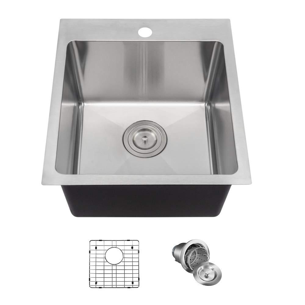 MR Direct T1717 Topmount 3/4-Inch Radius Kitchen Sink, Grid, and Basket Strainer