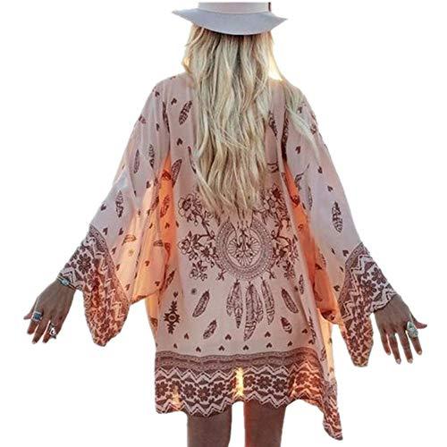 Women Retro Long Sleeve Loose Shawl Kimono Cardigan Tops Beach Cover up Coat Outwear