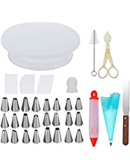 Cake Decorating Supplies with Cake Turntable 24 Stainless piping nozzles 1 Icing Spatula 1 Pastry Bag 1 Cake Brush 1 Cake Cutter 1 Cake Pen 3 Cake Scrapers cake stand
