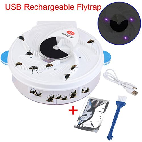 YJYdada Autumatic Electric Purple Light Fly Trap Recharge Device with Trapping Food (With usb, Blue)