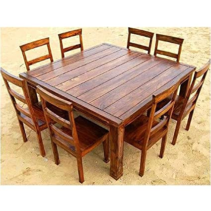 Amazon.com: Rustic 9 Pc Wood Square Dining Room Table Set Furniture ...