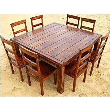 Amazon.com: Rustic 9 Pc Wood Square Dining Room Table Set ...