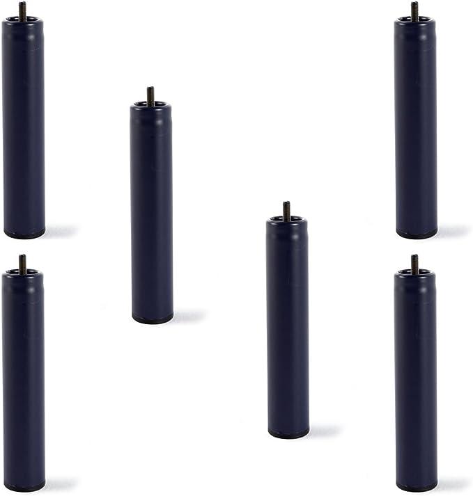 HOGAR24 6 Patas de somier ó Base tapizada, metálicas, cilíndricas con Rosca 32CM