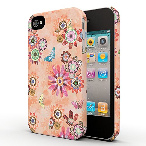 Koveru Back Cover Case for Apple iPhone 4/4S - Flower and Butterfly