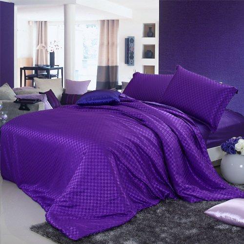 DIAIDI Home Textile,Silk Satin Bedding Set,Fitted Sheet,Luxury Bedding Set,Queen,4Pcs