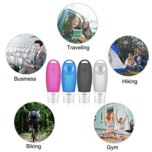 Mylivell Leakproof FDA Silicone Travel Bottles Set, TSA Approved Portable Travel Size Accessories Squeezable Refillable Bottle Containers Shampoo, Conditioner, Lotion, Toiletries 4 Pack 3 oz by Mylivell (Image #5)