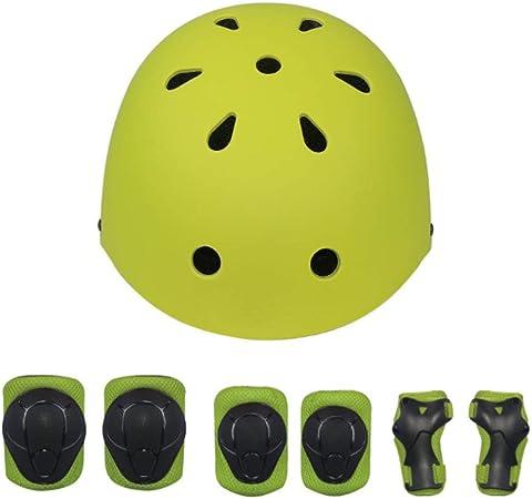 XRQ Casco de Patinaje sobre Ruedas para niños, Casco para patineta en Bicicleta para niños (Rodilleras, Coderas, protección para Las Palmas), niños de 4 a 11 años,Amarillo,S: Amazon.es: Hogar