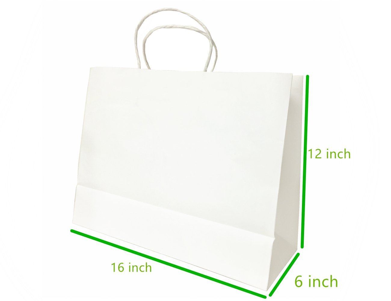Metrogalaxy Premium Kraft Paper Bag 16 '' X 6 '' X 12 '', White, 200 PC Gift Shopping Bag, Grocery Shopping, Recycle Twisted Handle Bags