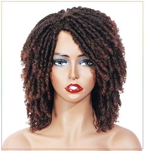 Short Dreadlock Wig Twist Wigs for Black Women Synthetic Hair 6 Inch Short Curly Synthetic Wigs African American Wigs Heat Resistant Replacement Wig (T1B/30)