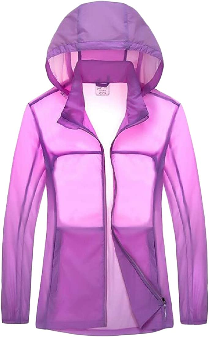 Macondoo Womens Casual Outdoor Plus Size Hooded UV-Protection Jacket