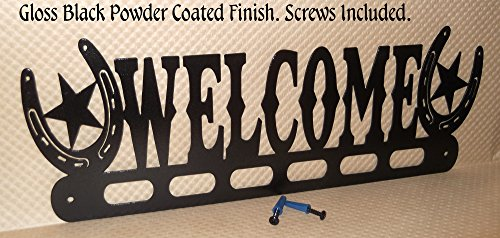 Welcome Sign. Horseshoes. Western. Handmade in USA. Gloss Black. 19 Inch Wide. Solid Steel.