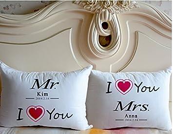 Amazon.com: Custom Señor y Señora almohada Par,