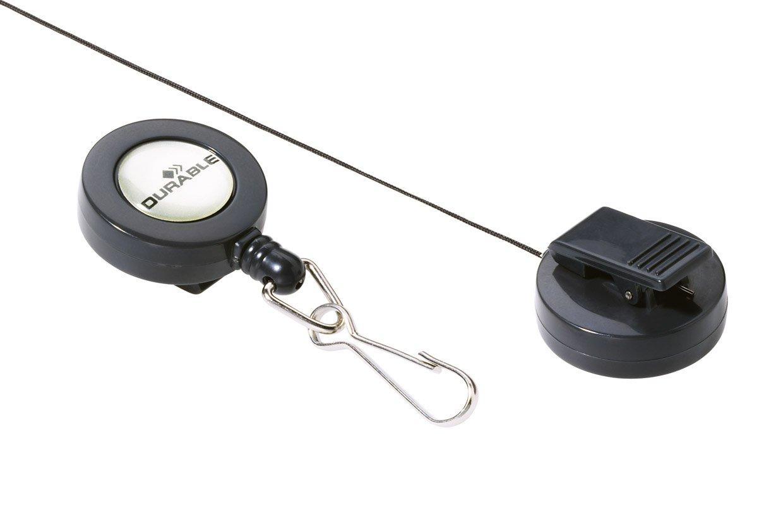 Chiocciola Yo-Yo con Anello Portachiavi Confezione da 10 Pezzi Carbone Durable 822258 Lunghezza 80 cm Clip in Plastica sul Retro
