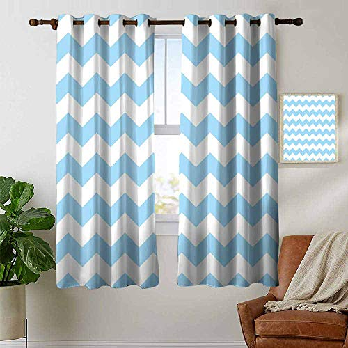 petpany Bedroom Curtains 2 Panel Sets Light Blue,Old Fashioned Classic Chevron Zigzags Baby Kids Room Nursey Themed Tile,Light Blue White,Complete Darkness, Noise Reducing Curtain 42