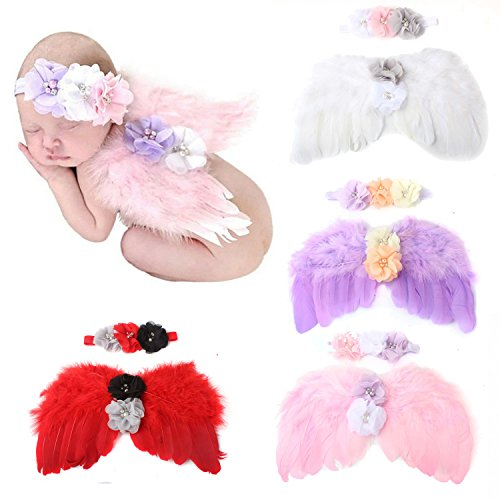 WZT 4 sets Feather Angel Wings Rhinestone Headband Set Baby Chiffon Flower Headband Hair Accessories Newborn Photo Prop -