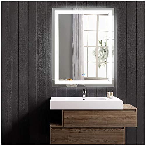 Keonjinn 24 x 32 Inch Anti-Fog Horizontal/Vertiacl Dimmable LED Bathroom Vanity Mirror Large Wall Makeup Mirror with Light