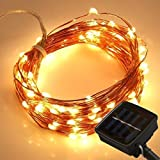 LEDMO Solar LED String Light,33 FT 100 LEDs String Lights Waterproof IP65, Copper Wire Lights Outdoor Solar Powered For Christmas Wedding and Party, Warm White